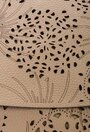 Geanta din piele naturala taupe cu detalii perforate