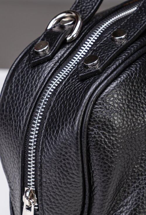 Geanta neagra din piele naturala cu doua manere