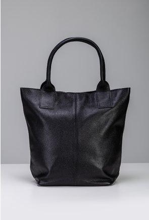 Geanta neagra din piele naturala tip shopper cu fermoar