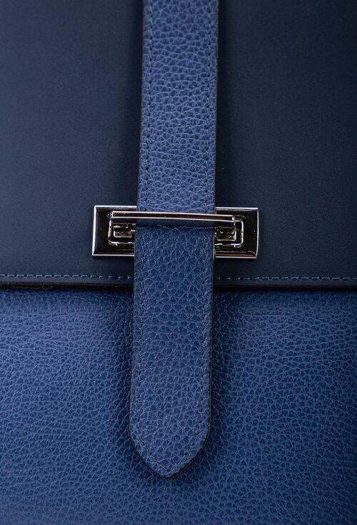 Geanta office din piele naturala in nuante de navy si bleumarin