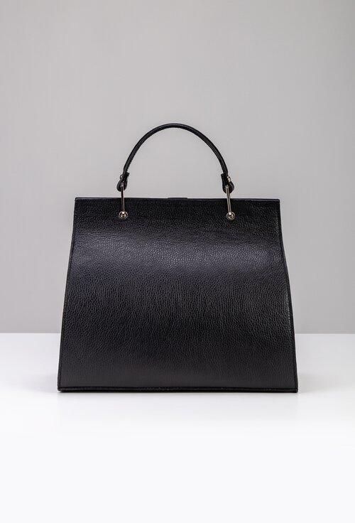 Geanta office neagra din piele naturala cu maner