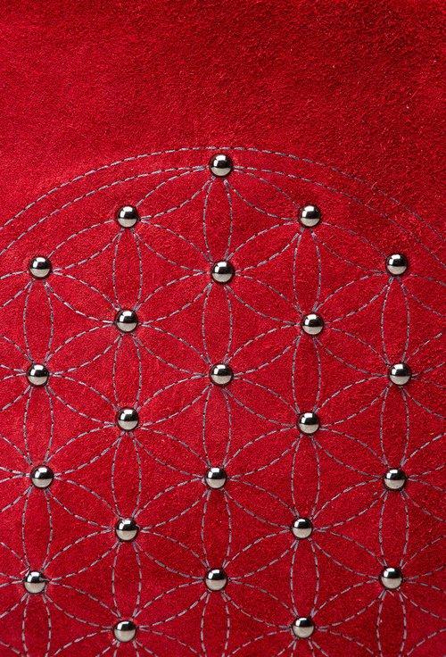 Geanta rosie din piele naturala Mandala