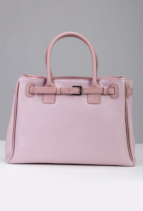 Geanta roz-lila din piele naturala