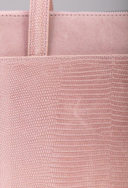 Geanta roz pudra din piele naturala