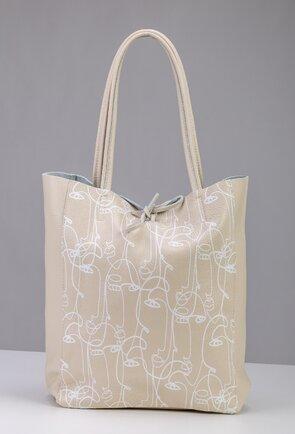 Geanta shopper din piele naturala nuanta alb fildes-bej