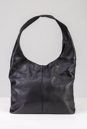 Geanta shopper neagra din piele naturala
