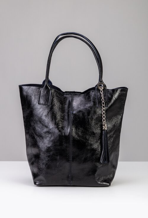 Geanta shopper neagra din piele naturala lacuita