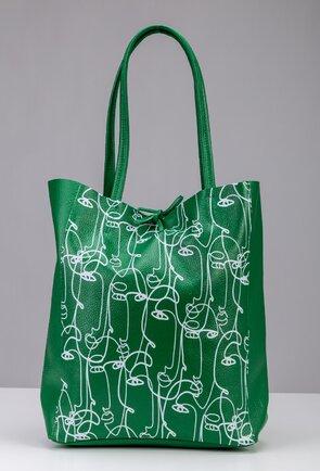 Geanta shopper verde din piele naturala