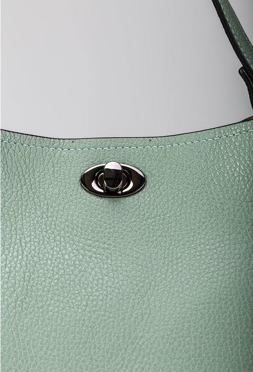 Geanta verde menta din piele naturală cu bareta