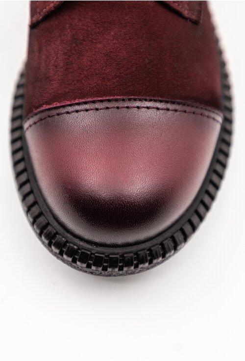 Ghete burgundy din piele naturala cu detaliu in varf
