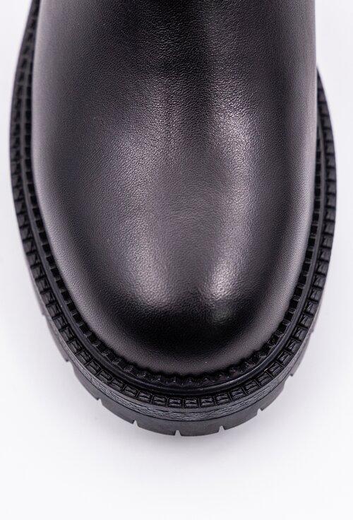 Ghete negre cu fermoar confectionate din piele