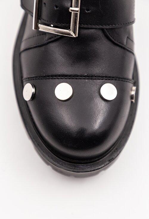 Ghete negre din piele box accesorizate cu trei curele