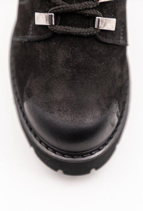 Ghete negre din piele intoarsa cu fermoar lateral