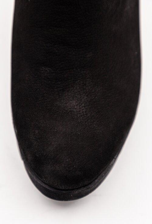 Ghete negre din piele intoarsa cu talpa ortopedica