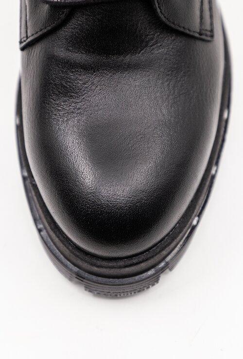 Ghete negre din piele naturala box cu detaliu galben