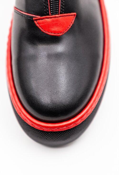 Ghete negre din piele naturala cu detalii rosii si fermoar