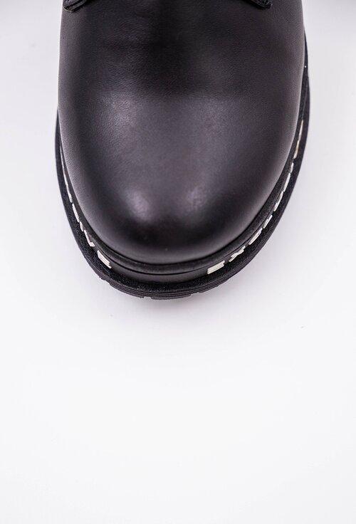 Ghete negre din piele naturala cu detaliu scris