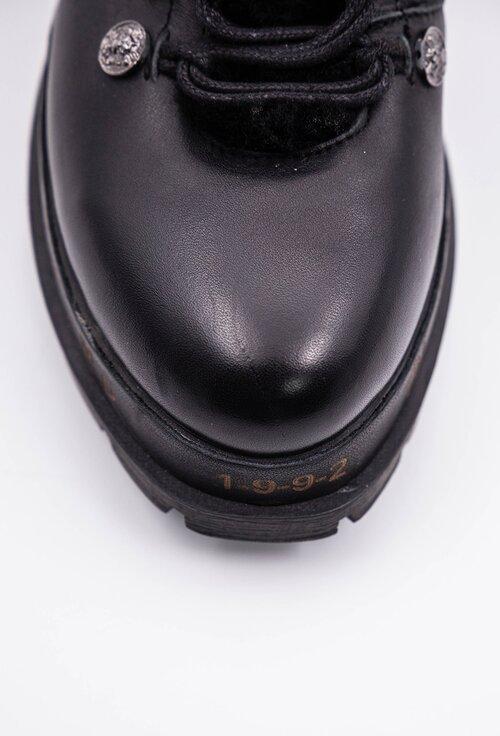 Ghete negre din piele naturala cu fermoar si detaliu blanita