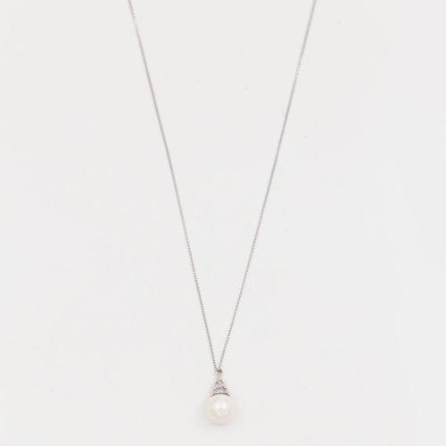 Lantic argintiu cu pandantiv perla si con