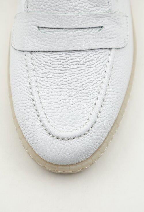 Mocasini albi din piele naturala box