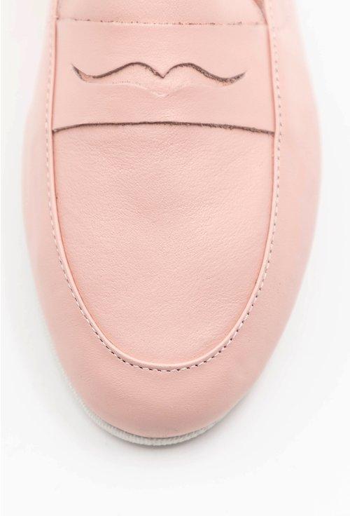 Mocasini din piele naturala nuanta roz pal