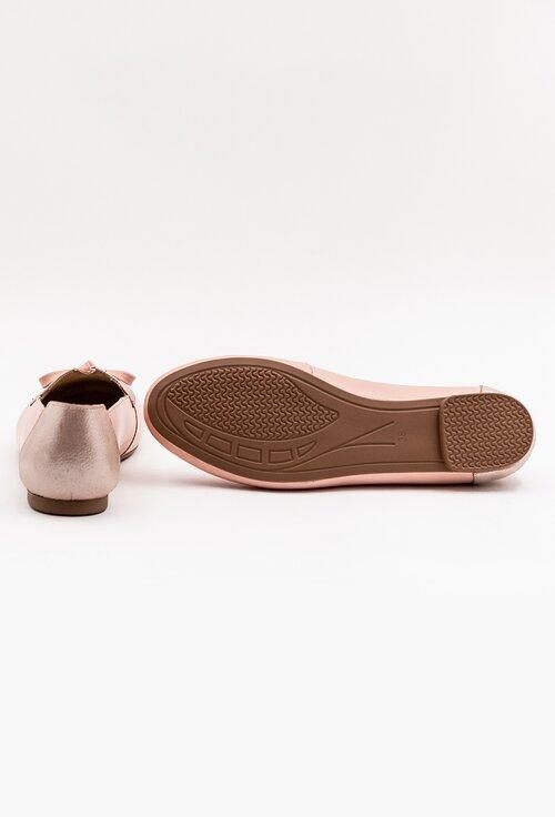 Mocasini din piele naturala nuanta roz pal cu insertii sclipitoare
