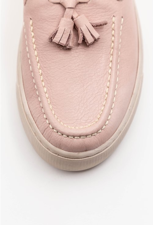 Mocasini din piele naturala roz cu accesoriu canaf