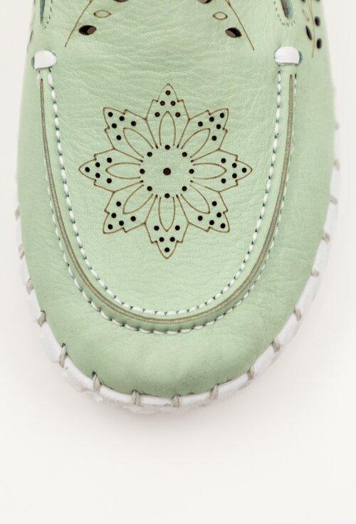 Mocasini din piele perforata nuanta verde turcoaz pastelat
