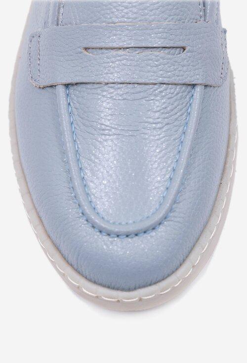 Mocasini nuanta bleu deschis din piele naturala