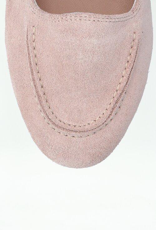 Mocasini nuanta roz din piele intoarsa