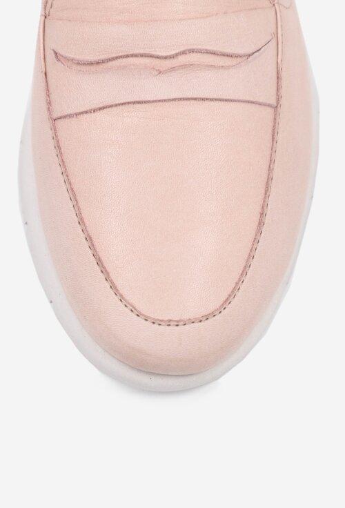Mocasini nuanta roz pal din piele box