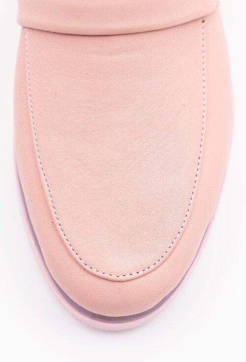 Mocasini roz pal din piele naturala