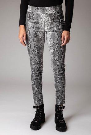 Pantaloni gri din piele ecologica cu snake print