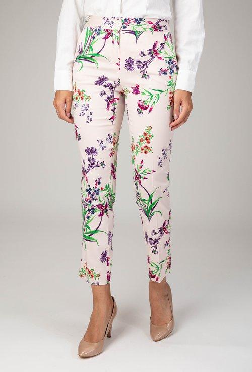 Pantaloni nuanta alb roze cu imprimeu floral colorat Flower