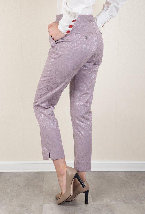 Pantaloni office lila cu imprimeu in relief Venus