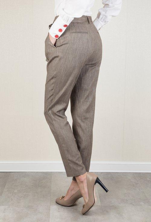 Pantaloni office maro cu imprimeu cu dungi Midori