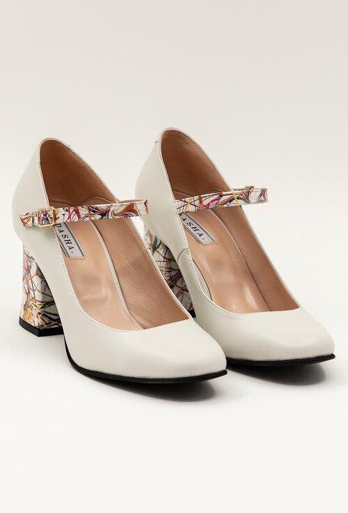 Pantofi albi din piele cu detalii cu imprimeu colorat