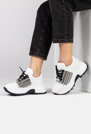Pantofi albi din piele naturala cu detaliu cod bare