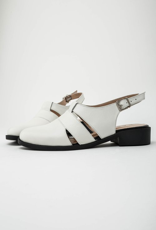 Pantofi albi din piele naturala model decupat Eda