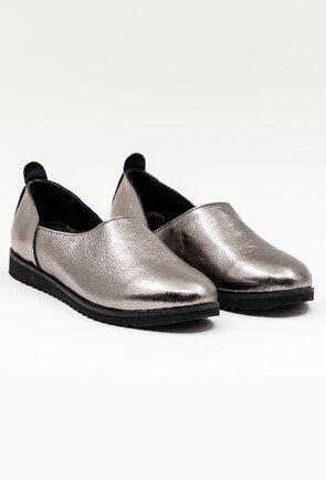Pantofi argintii din piele naturala