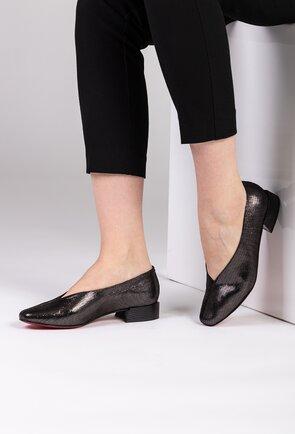 Pantofi argintii din piele naturala cu toc gros