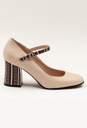 Pantofi bej din piele naturala cu detalii cu imprimeu