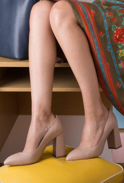 Pantofi bej din piele naturala Sophie