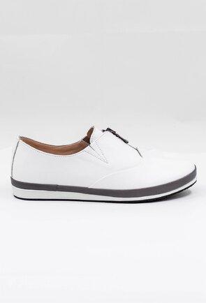 Pantofi casual albi cu fermoar