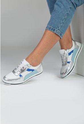 Pantofi casual albi din piele naturala cu detalii albastre si argintii