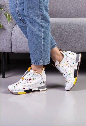 Pantofi casual albi din piele naturala cu platforma