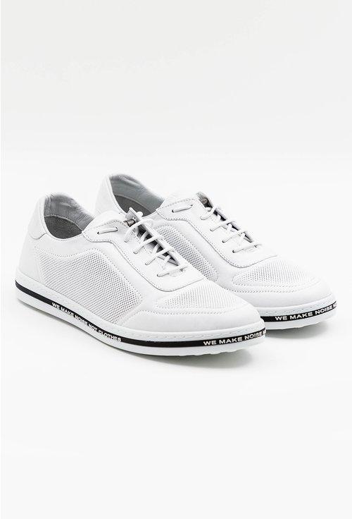 Pantofi casual albi din piele naturala perforata