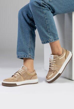 Pantofi casual bej din piele