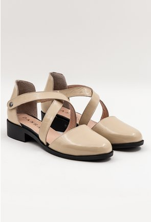 Pantofi casual bej din piele naturala lacuita Dory