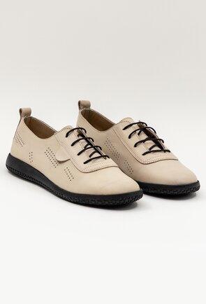 Pantofi casual confortabili din piele naturala taupe